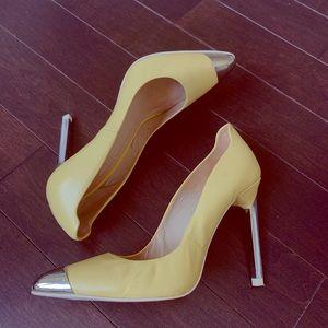 Zara Cap Toe Yellow High Heel Pointy Toe Shoe